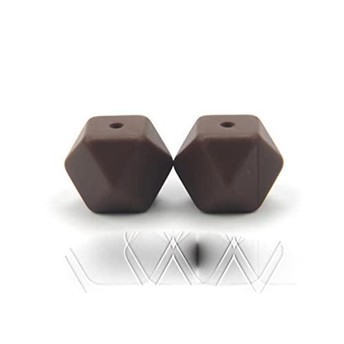 10 Uds cuentas de silicona de grado alimenticio 14mm collar de dentición hexagonal cuentas de dentición de silicona para mordedor de bebé cuentas de BPA-chocolate