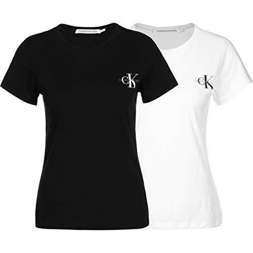 Calvin Klein Jeans Damen T-Shirt, 2er Pack, Ck Black/Bright White, S