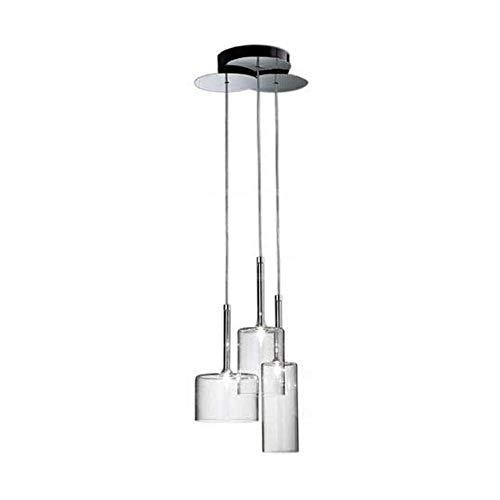 COCNI Lámpara Colgante Lineal de 3 Luces con Pantalla de Vidrio Lámpara de Techo Café Bar Mostrador Lámpara Colgante Moderna Industrial 3 vías Sala de Estar Personalidad Comedor Lámpara Colgante