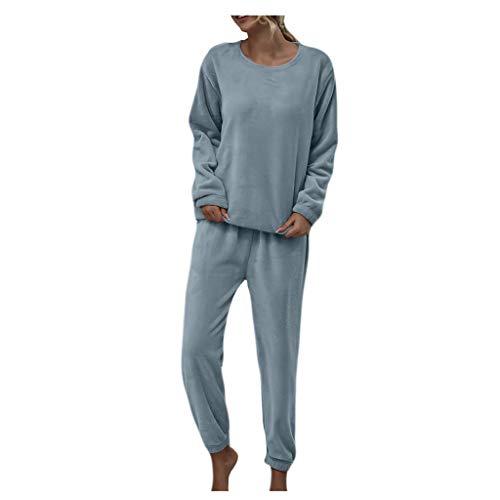 Pijamas de Franela para Mujer, Conjunto de Dos Piezas para el Hogar, Conjunto de Pantalones de Color Sólido, Traje Informal, Cuello Redondo B41 (XL, Azul)