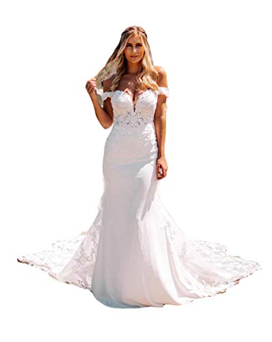 Off The Shoulder Sheath Wedding Dresses Long Sleeves Sweetheart Sheer Lace Train Boho Bridal Gowns White 8
