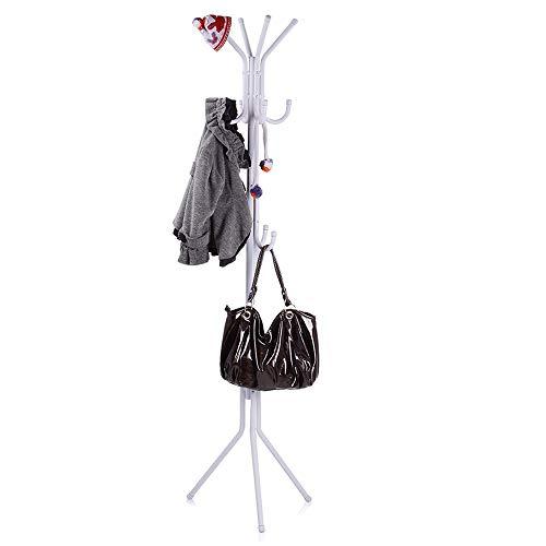 ARIANA HOMEWARE Coat Stand Coat/Hat/Jacket/Umbrella Floor Standing Metal Rack Clothes Hanger Hooks for Home, Garage, Office, Bedroom, Living Room 180cm (H) (White)