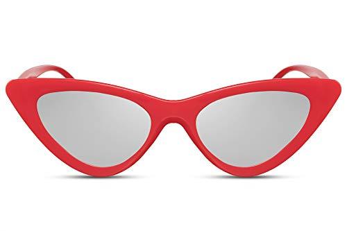 Cheapass Gafas de Sol Cat Eye Designer Fashion Montura Roja con Lentes Plateadas Espejadas UV400 Mujer
