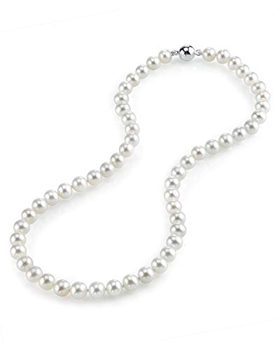 """THE PEARL SOURCE 7-8mm AAA Quality Round White Freshwater Cultured Pearl Necklace for Women with Magnetic Clasp in 18"""" Princess Length"""
