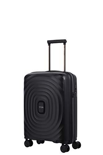Gepäck Serie LOOPING: Robuste und leichte TITAN Hartschalen Trolleys, Koffer 4-Rad Handgepäck mit TSA Schloss, erfüllt IATA-Bordgepäck Maß, 848406-01, 55 cm, 37 Liter, Black (Schwarz)