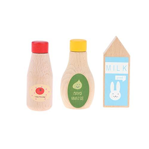 sharprepublic Gewürze Tomaten Ketchup Mayonnaise Flasche Holz Pretend Toys