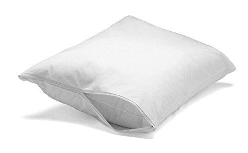 Feather/Down-Proof, 100% Cotton, Pillow Protector - Reduce Pokes with Hypoallergenic, Breathable, Machine Washable, Quiet, Soft Covers - Zippered Enclosure & Machine Washable (1, Standard)