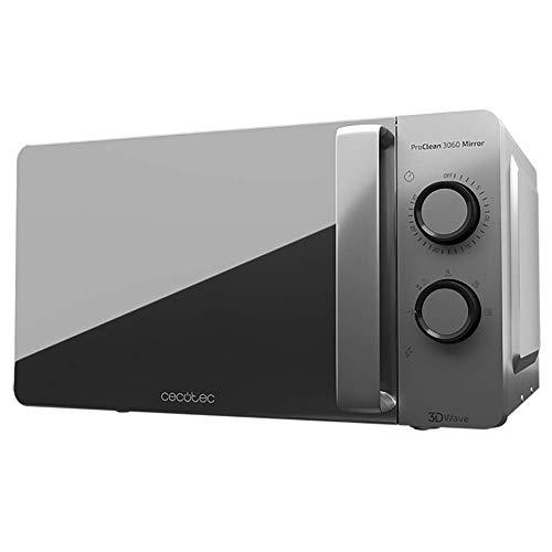 Cecotec Micro-ondes ProClean 3060 Gray Mirror. Capacité de 20 L, Revêtement Ready2Clean, 700 W de Puissance, 6 Niveaux de Fonctionnement, Minuterie 30 minutes, Mode Décongeler, Finition Argenté.