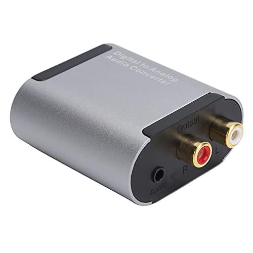 Convertidor de Audio, Adaptador de Audio Digital a analógico L/R, reducción de Ruido electrónico + Ganancia de señal, con Cable de Fibra, para convertidor Toslink a Jack de 3,5 mm
