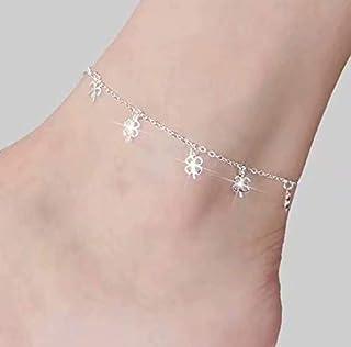 Aeromdale Tobillera de plata para mujer con cuentas para el pie de playa, pulsera de tobillo #5