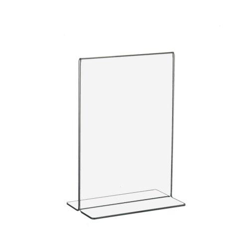 10 Stück T-Ständer/Werbeaufsteller / Acrylständer DIN A6 Hochformat aus Acrylglas
