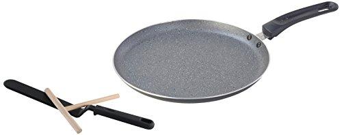 axentia Crêpe-Pfannen-Set in Marmoroptik, innen schwarz, Aluminiumpfanne mit hochwertiger ILAG - Antihaftbeschichtung, Flachpfanne inklusive Holzschieber