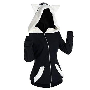 Zpervoba Casual Retro Cat Ear Hoodies for Womens Vintage Plush Long Sleeve Loose Pullover Zip up Jacket Sweatshirt Tops
