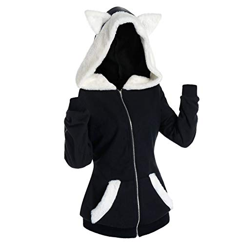 URIBAKY - Sudadera con capucha para mujer, diseño de orejas de gato Negro XXL