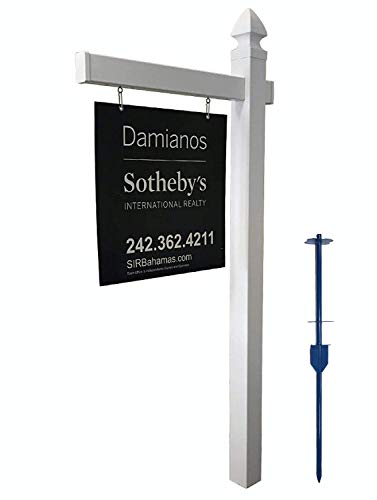 4Ever Products Vinyl PVC Real Estate Sign Post - White - 6' Tall Post