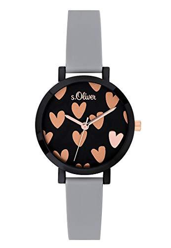 s.Oliver Mädchen Analog Quarz Uhr mit Silikon Armband SO-3769-PQ