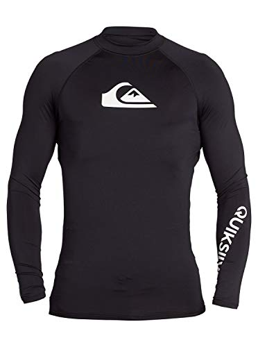 Quiksilver Men's All TIME LS Long Sleeve Rashguard SURF Shirt, Black, M