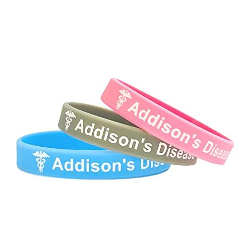 Addisons Complementos - Juego de 3 Rosa Gris Cielo Azul Pulsera para alerta médica de emergencia para Hombre y Mujer de Butler & Grace.