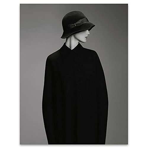 YYAYA.DS Cuadros Decorativos Mujer con Sombrero Carteles e Impresiones en Blanco y Negro decoración de imágenes artísticas de Pared 60x90cm