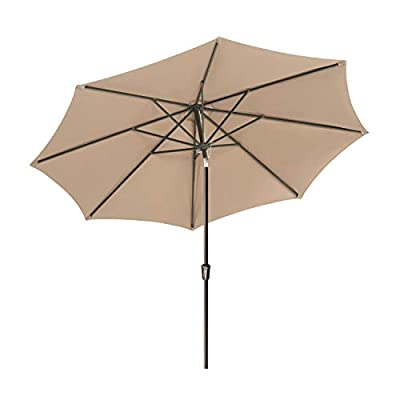 Lurasel Patio Umbrella,Outdoor Table Market Umbrellas with Push Button Tilt and Crank Lift with 8 Sturdy Ribs (11ft,Beige)