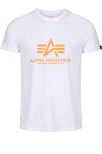 Alpha Industries T-Shirt Basic viele Farben (M, White/Neon Orange)