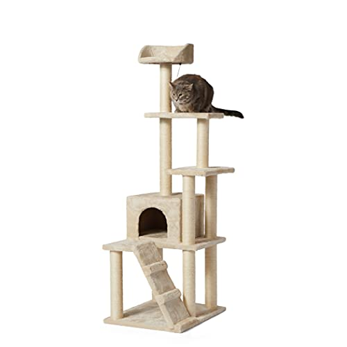 Amazon Basics - Albero per gatti grande, più torri, 61 x 155 x 48,2 cm, beige