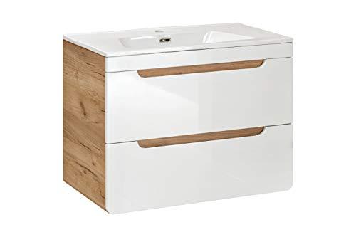 BIM Furniture Aruba 821 Badezimmerschrank mit hängendem Waschbecken CFP80D 80 cm Hängender Schrank unter der Spüle mit Spüle Badezimmer Craft Oak White Glanz