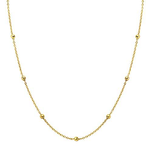 Iyé Biyé Jewels - Colgante Mujer Collar Cadena Plata de Ley 925 Bolitas 40 cm Cierre Reasa Bañado Oro Amaril