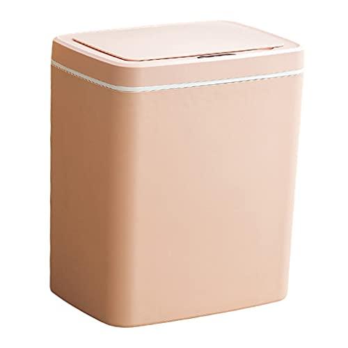 H HILABEE Cubo de Basura Inteligente Cubo de Basura Hogar Dormitorio Suministros de Baño Impermeable - batería rosa 16L
