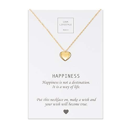 LUUK LIFESTYLE Collar de acero inoxidable con colgante de corazón y cita Happiness, joya de mujer, tarjeta de regalo, amuleto, oro