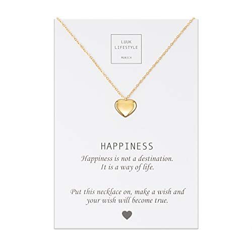LUUK LIFESTYLE Edelstahl Halskette mit Herz Anhänger und Happiness Spruchkarte, Glücksbringer, Damen Schmuck, gold