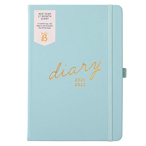 Busy B Mid-Year 17 Month Diary August 2021 - August 2022. Blue Faux Leather Academic Diary 2021-2022...