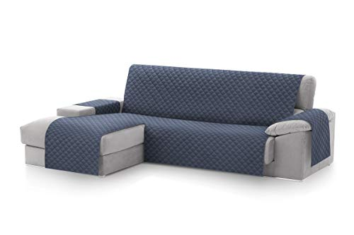 textil-home Funda Cubre Sofá Chaise Longue Malu, Protector para Sofás Acolchado Brazo Izquierdo. Tamaño -240cm. Color Azul (Visto DE Frente)