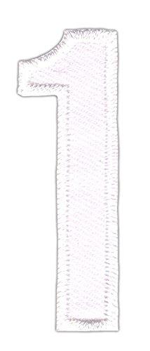 Patch Zahl 1 Eins Weiß Aufnäher Bügelbild 1,7 x 5 cm