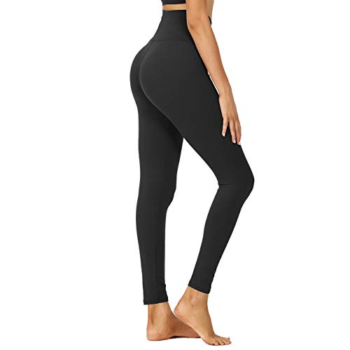 "HIGHDAYS High Waisted Leggings for Women - 25"" Soft Opaque Slim Printed Pants for Running Cycling Yoga (Black, Small-Medium)"