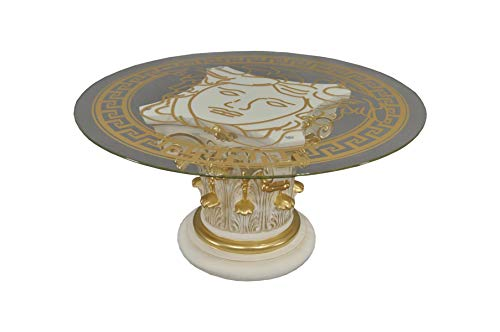 Antikes Wohndesign Runder Couchtisch Wohnzimmertisch Glastisch Säulentisch Steintisch Beige Gold