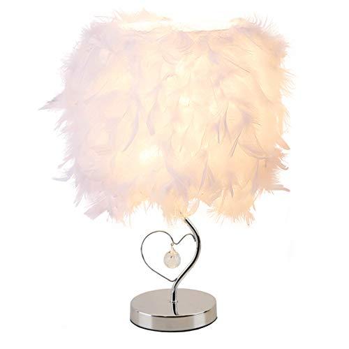 GUANSHAN Lámpara de mesilla de plumas Pantalla de cabecera Lámpara de mesa de plumas moderna Pantalla de escritorio con cristal en el corazón para sala de estar, dormitorio, bar, restaurante