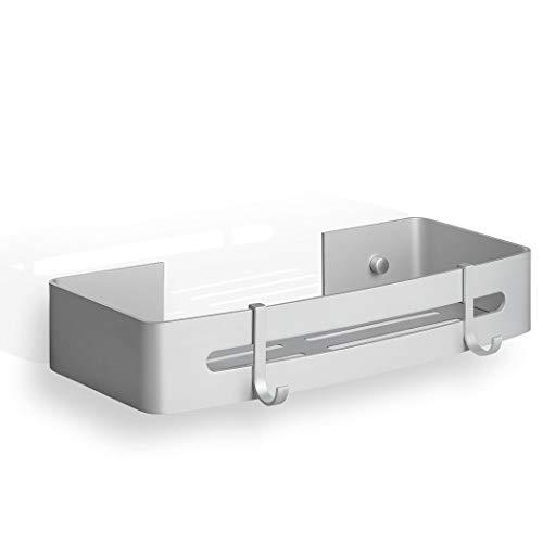 SEBSON Estante de ducha sin taladrar (5 kg), para taladrar (10-15 kg), con dos ganchos, aluminio, estantería de baño adhesiva con tornillos (variable), 320 x 120 x 55 mm