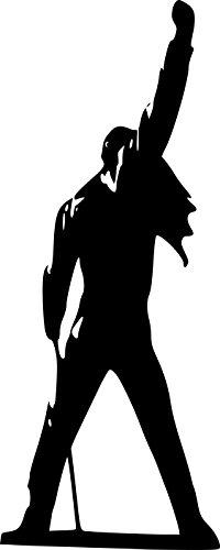 "Pegatina grande para pared con silueta de Freddie Mercury de Queen, vinilo, negro, Large: 60cm x 150cm / 24"" x 59"""