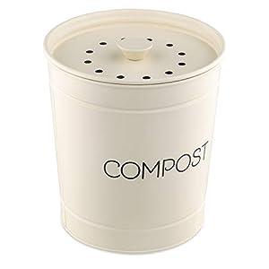Navaris Cubo para Basura orgánica - Compost de Basura de 3 L con filtros - Contenedor para residuos de 19 x 20 CM - Tacho Vintage para Cocina - Crema