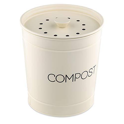 Navaris Poubelle à Compost 3L - Bac à Compost de Cuisine - Composteur de Cuisine pour Déchets Alimentaires - 3X Filtre Charbon
