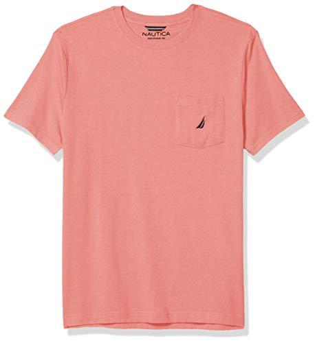 Nautica Solid Crew Neck Short Sleeve Pocket T-Shirt Camiseta, Coral de Purga, XXL para Hombre
