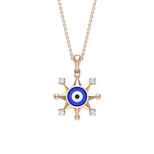 Colgante de ojo malvado, collar de estrella, joyería de diamante HI-SI, joyería de ojos de oro