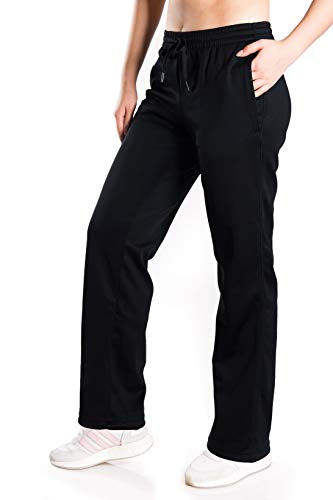 Yogipace Women's Water Resistant Thermal Fleece Pants Winter Lounge Running Sweatpants with Pockets,33',Black, XL