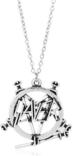 NC188 Colgante Show No Mercy Pentagram Band Logo Colgante Collar gótico Punk Heavy Metal Band joyería para Hombres Mujeres Fans Collar