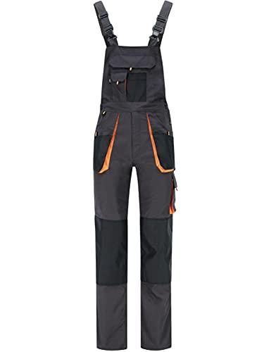 BWOLF Atlas Latzhose Herren Arbeitshose Schutz-Latzhose Classic mit Multifunktionalen Taschen Grau/Orange (2XL)