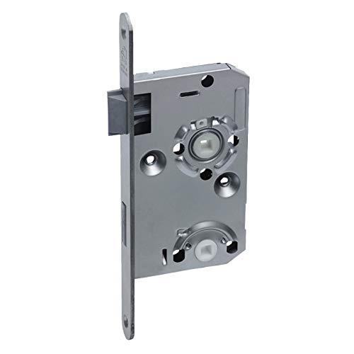 BASI® Zimmertür-Einsteckschloss DIN rechts | links mit abgerundetem Stulp ES 935 Nickel silber für WC-Garnituren, DIN links