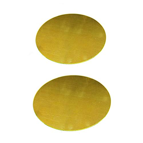 brass metal raw materials SOFIALXC Brass Sheet Round Plate Metal Raw Materials-0.8mm thick-100mm in Diameter 2pcs