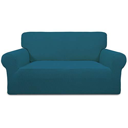Greatime Stretch Sofabezug,Sofaüberwurf,Sofaüberzug,Sofahusse,Couchbezug,Möbelschutz,rutschfest,1-Stück Couch Schild,Haustier-Bezug(Pfauenblau,2-Sitzer)