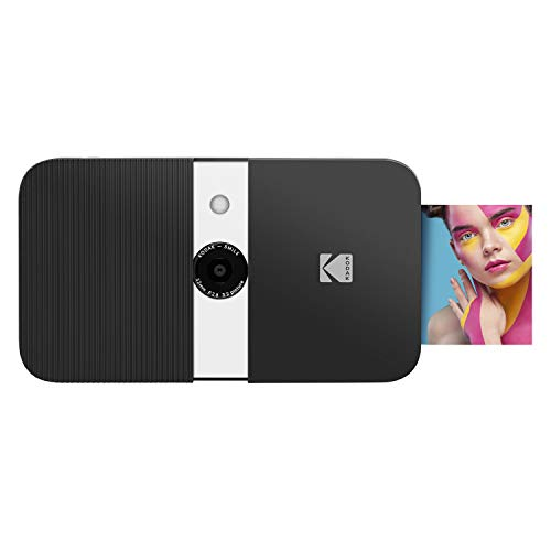 Zink KODAK Smile Instant Print Digital Camera – Slide-Open 10MP Camera w/2x3 ZINK Paper, Screen, Fixed Focus, Auto Flash & Photo Editing – Black/ White